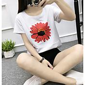 Mujer Boho Bonito Noche Casual/Diario Vacaciones Camiseta,Escote Redondo Un Color Floral Manga Corta Algodón Medio
