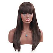 Mujer Pelucas sintéticas Sin Tapa Largo Liso Castaño Con flequillo Peluca natural Peluca de Halloween Peluca de carnaval Las pelucas del