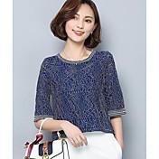 Mujer Simple Casual/Diario Verano Camiseta,Escote Redondo Un Color Manga Corta Algodón Fino