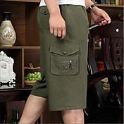 Hombre Sencillo Alta cintura strenchy Corte Recto Pantalones,Holgado Un Color