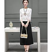 Mujer Simple Casual Verano T-Shirt Pantalón Trajes,Escote Redondo Un Color Microelástico
