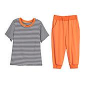 Mujer Magnético Uso Diario Primavera Verano T-Shirt Pantalón Trajes,Escote Redondo Un Color Manga Corta
