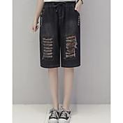 Mujer Sencillo Tiro Medio Microelástico Vaqueros Shorts Pantalones,Corte Recto Bloques