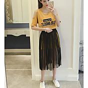 Mujer Casual Casual/Diario Verano T-Shirt Falda Trajes,Escote Redondo Bloques Refranes y citas Manga Corta Microelástico