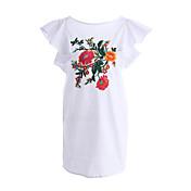 Mujer Camiseta Vestido Festivos Noche Casual/Diario Playa Simple,Bordado Escote Redondo Sobre la rodilla Manga Corta Algodón Poliéster