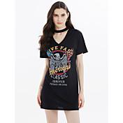 Mujer Camiseta Vestido Noche Casual/Diario Simple Activo,Búho Escote en Pico Sobre la rodilla Manga Corta AlgodónPara Todas las