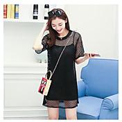レディース 日常 春 夏 Tシャツ(21) ドレス スーツ,クール ラウンドネック ソリッド 半袖