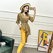 レディース お出かけ 夏 Tシャツ(21) パンツ スーツ,ストリートファッション ラウンドネック ソリッド フラワー アニマルプリント バックレス 半袖