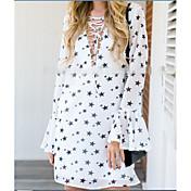 Mujer Línea A Vaina Vestido Noche Casual/Diario Simple Bonito Chic de Calle,Estampado Diseño Geométrico Estrella Escote en PicoSobre la