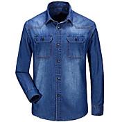 Masculino Camisa Social Casual Simples Sólido Algodão Colarinho de Camisa Manga Longa
