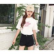 レディース シンプル ハイウエスト ワイドレッグ マイクロエラスティック ショーツ パンツ ソリッド ストライプ