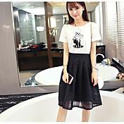 レディース 日常 夏 Tシャツ(21) スカート スーツ,現代風 ラウンドネック プリント 半袖