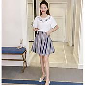 Mujer Casual Casual/Diario Verano T-Shirt Falda Trajes,Escote Redondo Floral Estampado Manga Corta Microelástico