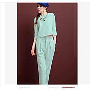 レディース 春 Tシャツ(21) パンツ スーツ ラウンドネック 半袖