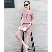 Mujer Casual Casual Verano Camisas Pantalón Trajes,Escote Redondo Un Color Manga Corta