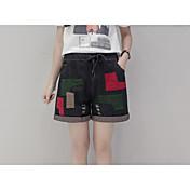 Mujer Cosecha Tiro Medio Inelástica Shorts Pantalones,Perneras anchas Bloques