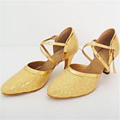 Feminino Latina Paetês Sandálias Apresentação Salto Agulha Dourado 7,5 - 9,5 cm Personalizável