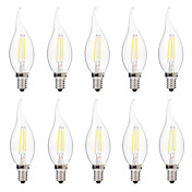 2W Bombillas de Filamento LED C35 2 COB 200 lm Blanco Cálido Blanco Regulable AC 100-240 V 10 piezas