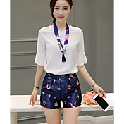 Mujer Simple Casual/Diario Verano Blusa Pantalón Trajes,Escote Redondo Patrón Manga 1/2 Microelástico