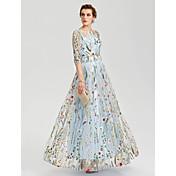 チェーンのプリーツとaラインのジュエルネックフロアの長さのレースのイブニングパーティーの正式なドレス