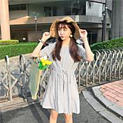 Mujer Línea A Vestido Casual/Diario Líneas / Olas Escote Redondo Sobre la rodilla Manga Corta Algodón Verano Tiro Alto Microelástico Fino