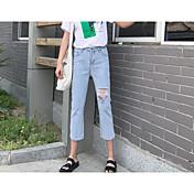 Mujer Sencillo Alta cintura Inelástica Perneras anchas Pantalones,Perneras anchas Un Color