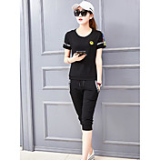 Mujer Simple Casual/Diario Discoteca Verano T-Shirt Pantalón Trajes,Escote Redondo Un Color Manga Corta Microelástico