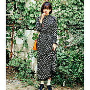 Mujer Vaina Vestido Casual/Diario A Lunares Escote Redondo Maxi Manga Larga Poliéster Verano Tiro Medio Microelástico Fino