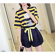 Mujer Moderno / Contemporáneo Diario Verano T-Shirt Pantalón Trajes,Escote Redondo Líneas / Olas Manga Corta Microelástico