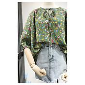 レディース お出かけ 夏 ブラウス パンツ スーツ,ストリートファッション ラウンドネック フラワー シフォン ハーフスリーブ マイクロエラスティック