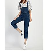 Mujer Sencillo Media cintura strenchy Vaqueros Pantalones,Delgado Un Color Color puro