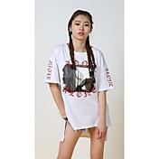 Mujer Simple Chic de Calle Punk & Gótico Deportes Casual/Diario Noche Verano Camiseta,Escote Redondo Estampado Manga Corta Algodón Licra