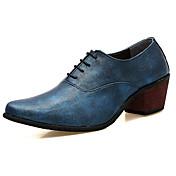 メンズ 靴 PUレザー 春 秋 コンフォートシューズ オックスフォードシューズ 用途 ブラック シルバー レッド ブルー