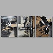 Pintada a mano Abstracto Horizontal,Artístico Tres Paneles Lienzos Pintura al óleo pintada a colgar For Decoración hogareña