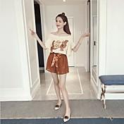 Mujer Simple Activo Noche Casual/Diario Verano T-Shirt Pantalón Trajes,Hombros Caídos Floral Manga Corta Encaje Microelástico