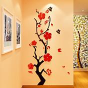Blomstret/Botanisk Romantik Vægklistermærker 3D mur klistermærker Krystal mur klistermærker Dekorative Mur Klistermærker 3D,Akryl