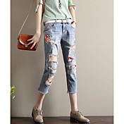 レディース ビンテージ ミッドライズ ストレート マイクロエラスティック Culotte パンツ 刺繍