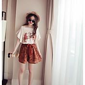 Mujer Simple Bonito Noche Casual/Diario Verano T-Shirt Pantalón Trajes,Escote Redondo Bordado Palabra/Frase Manga Corta Microelástico