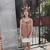 Mujer Simple Casual/Diario Camisa,Escote Redondo Un Color Sin Mangas Algodón