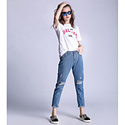 Mujer Sencillo Tiro Alto Microelástico Vaqueros Pantalones,Delgado Un Color