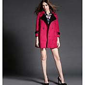 レディース お出かけ 冬 コート,シンプル シャツカラー ソリッド レギュラー ポリエステル 長袖