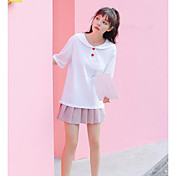 Mujer Sexy Bonito Casual/Diario Camiseta,Escote Redondo Un Color Manga Corta Algodón