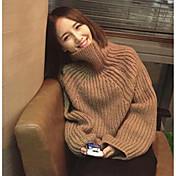 Mujer Regular Pullover Casual/Diario Simple,Un Color Cuello Alto Manga Larga Algodón Primavera Medio Microelástico