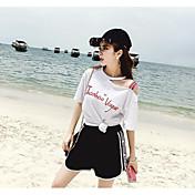 Mujer Simple Casual/Diario Verano T-Shirt Pantalón Trajes,Escote Redondo Un Color Refranes y citas Manga Corta