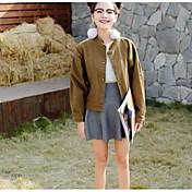 Mujer Simple Casual/Diario Primavera Chaqueta,Escote en Pico Un Color Manga Larga Algodón Regular