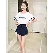 Mujer Simple Casual/Diario Verano T-Shirt Pantalón Trajes,Escote Redondo Un Color Letra Manga Corta Inelástica