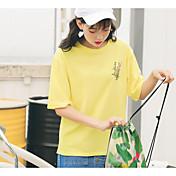 Mujer Simple Casual/Diario Camiseta,Escote Redondo Floral Media Manga Algodón