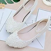 Mujer Zapatos de boda Talón Descubierto Encaje PU Primavera Otoño Boda Vestido Fiesta y Noche Aplique Cuentas Perla de Imitación Flor