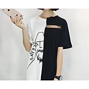 Mujer Bonito Casual/Diario Camiseta,Escote Redondo Bloques Letra Media Manga Algodón