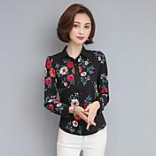 Mujer Sofisticado Casual/Diario Camisa,Cuello Camisero Floral Manga Larga Poliéster